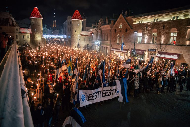 torch light march in old city