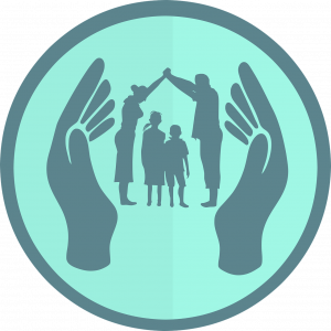 Hands protecting family